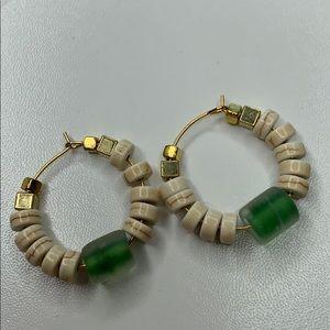 Artisan beaded hoop earrings